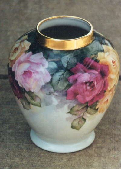 Roses Vase Painted by Jean Fehl