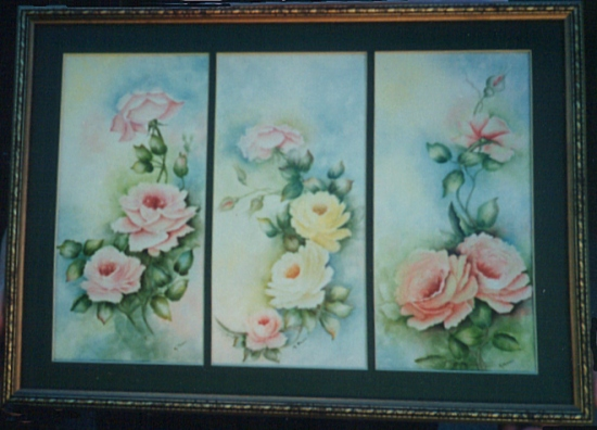 Roses on Tiles Painted by Kathleen Rose